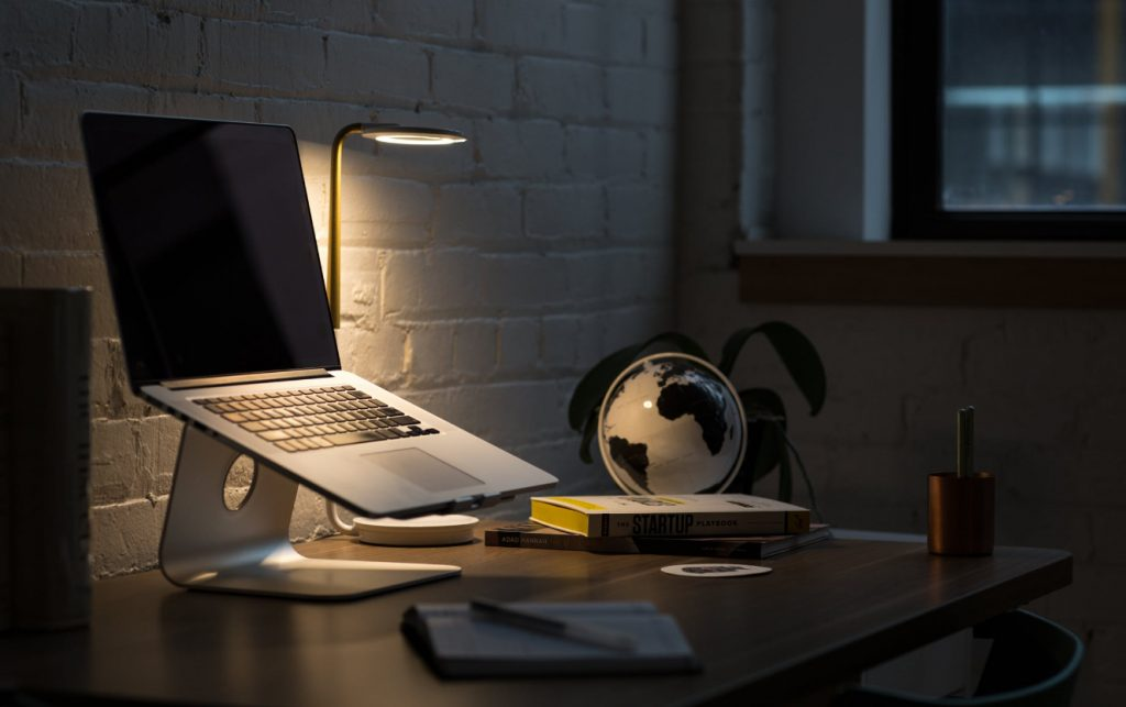 laptop with a lamp